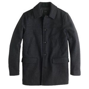 J CREW University Jacket L Tall Wool Coat Black 42